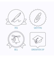 Graduation cap pen and bell icons vector image vector image