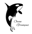 Grampus icon in doodle style on white background vector image vector image