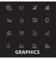 graphics editable line icons set on black vector image