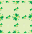 green limes cut in half into round slices lime vector image