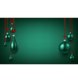 green shining background with christmas balls vector image vector image
