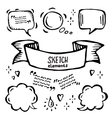 hand drawn sketch ribbons and bubbles of vector image vector image