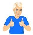 Italian football fan showing thumbs up sign vector image vector image
