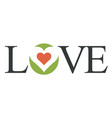 love lettering with initial letters and heart vector image