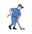 Male worker cleaning with vacuum cleaner vector image