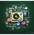 Music and entertainment collage with icons on vector image