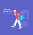 online announcement a new banking mobile app vector image vector image