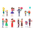 people with bouquets and gifts celebrate holiday vector image
