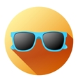 Round Summer Icon with sunglasses vector image