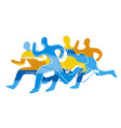 running racefour runners colorful silhouettes vector image vector image