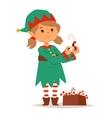 santa claus kid cartoon elf helper vector image vector image
