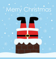 santa claus stuck in the chimney christmas vector image vector image