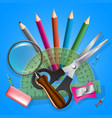 school objects icons collection vector image
