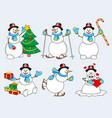 set of cartoon snowman vector image