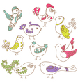 Set of different cute birds vector image vector image