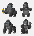 set of gorilla cartoon with different poses and ex vector image vector image