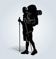 Silhouette of the mountain tourist vector image vector image