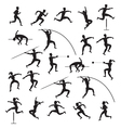 Sports Athletes Track and Field Silhouette Set vector image