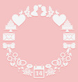 st valentine day round frame icons on a pink vector image vector image