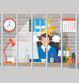 stressed businessman on workplace tired to work vector image