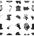 Theater pattern icons in black style Big vector image vector image