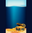 underwater scene with gold in treasure chest vector image vector image