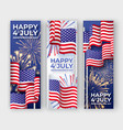 usa independence day three vertical banners vector image vector image