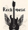vintage rock music poster with black guitar vector image vector image