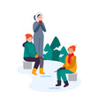 winter activities family fishing together vector image vector image