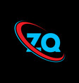 zq z q letter logo design initial letter zq vector image vector image