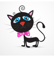 Black Cat Kitten with Blue Eyes and Pink Bow Tie vector image