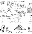 famous global landmark set seamless pattern vector image