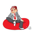 a thoughtful businessman sitting on bean bag vector image