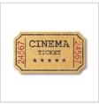 Realistic retro paper cinema ticket vector image