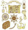 set with pirate theme objects vector image