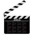 calendar for 2013 movie clapper board vector image