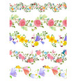 fashion floral set of seamless borders with roses vector image