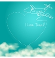 airplane flying in sunny blue sky leaving vector image vector image