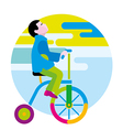 Boy on a winged bicycle vector image vector image