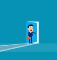 businessman opening door concept cute business vector image