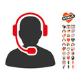 call center operator icon with lovely bonus vector image vector image