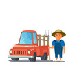 Cartoon Farmer Character with red Pickup Truck vector image vector image