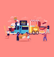 characters buying street food concept tiny people vector image vector image