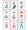 christmas cartoon cards with animals penguin cat vector image vector image