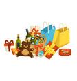 christmas holiday celebration xmas presents set vector image