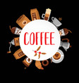 coffee flat collection drink decorative icons vector image