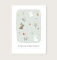cute easter greeting card invitation with rabbits vector image