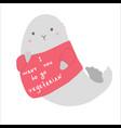 cute fur seal calls for becoming a vegetarian vector image vector image