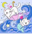 cute white kitten and mermaid kitten vector image vector image