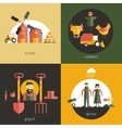 Farm Flat Set vector image